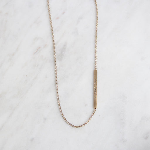 White Gold Chain with Yellow Gold 'I Love You' & 'XOXO' Bar
