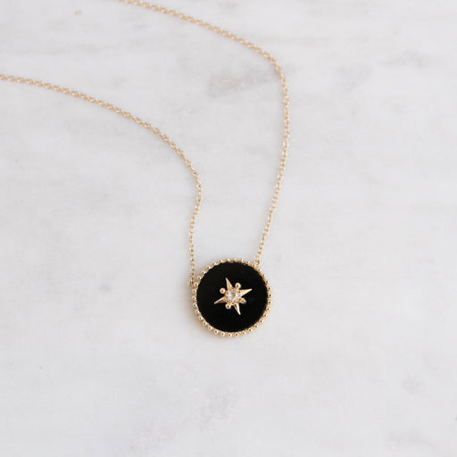 14k Yellow Gold Black Onyx Disc with Gold Star & Diamond Center