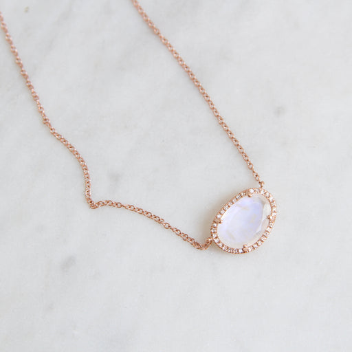 14k Rose Gold Organic Shaped Rainbow Moonstone Necklace