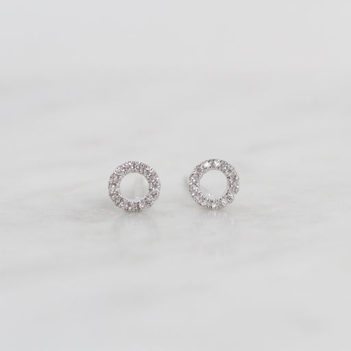 14k White Gold Open Circle Diamond Post Earring