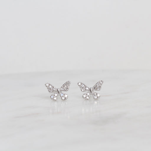 14k White Gold Pavé Diamond Butterfly Post Earring
