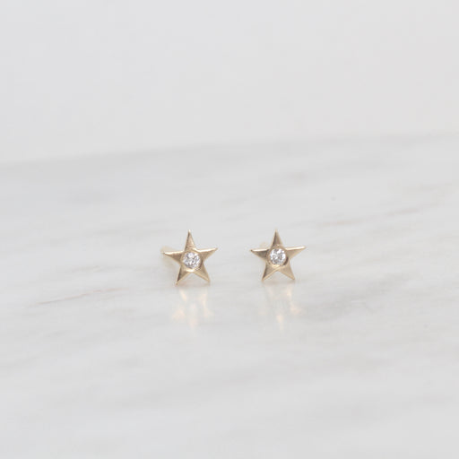 14k Yellow Gold Brushed Mini Star with Single Diamond