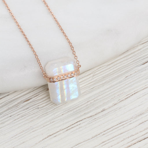 14k Rose Gold Large Ethos Rainbow Moonstone with Diamond Band Necklace