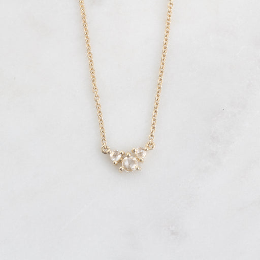 14k Yellow Gold Triple Round Rose Cut Diamond Necklace