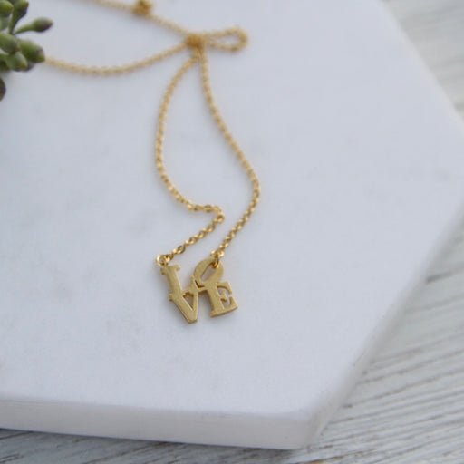 VERMEIL MATTE MINI LOVE SCULPTURE NECKLACE