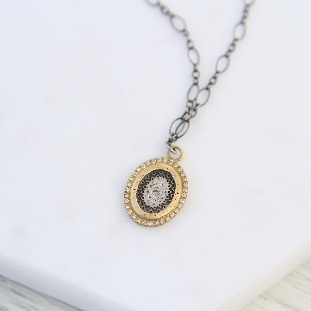 Flame Pendant with Champagne Diamond