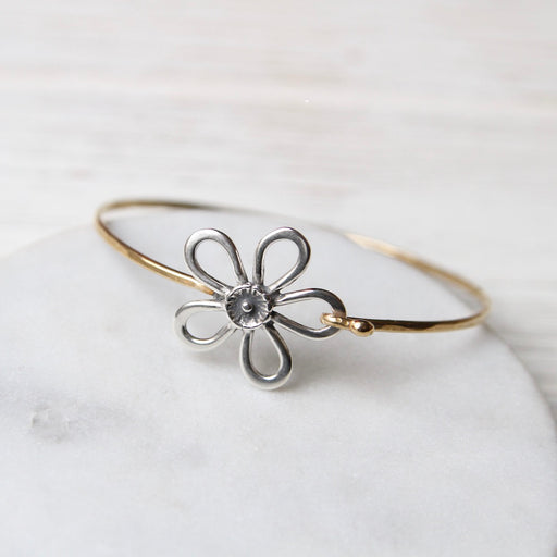 Brass Clasp Bracelet with Sterling Silver Five Petal Daisy