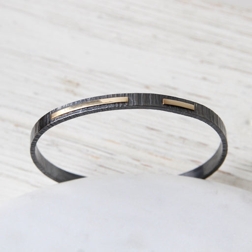 14K Dot Dash Oxidized Cuff Bracelet