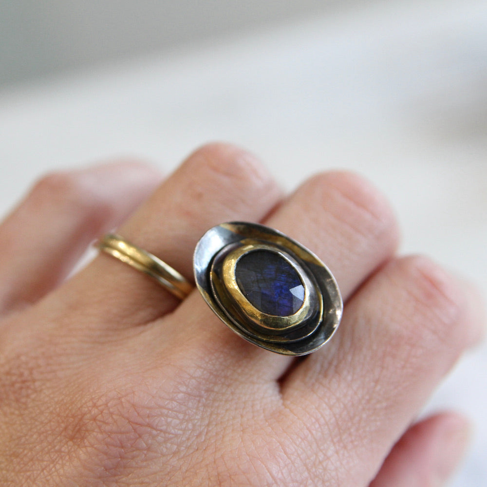 Labradorite Ring with 24K Gold and Oxidized Silver Rim