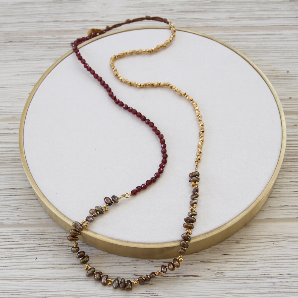 Garnet And Grey Pearl Naked Wrap Bracelet