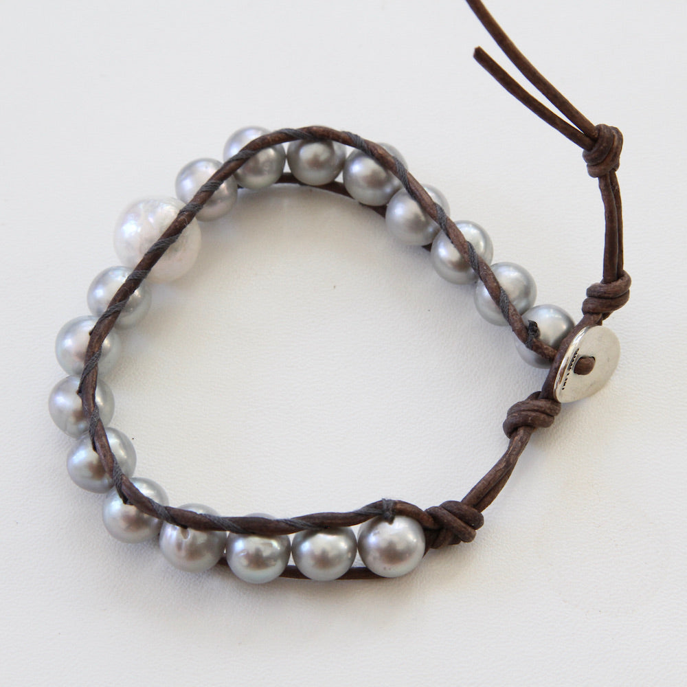 Grey Pearl Single Wrap Bracelet on Brown Leather