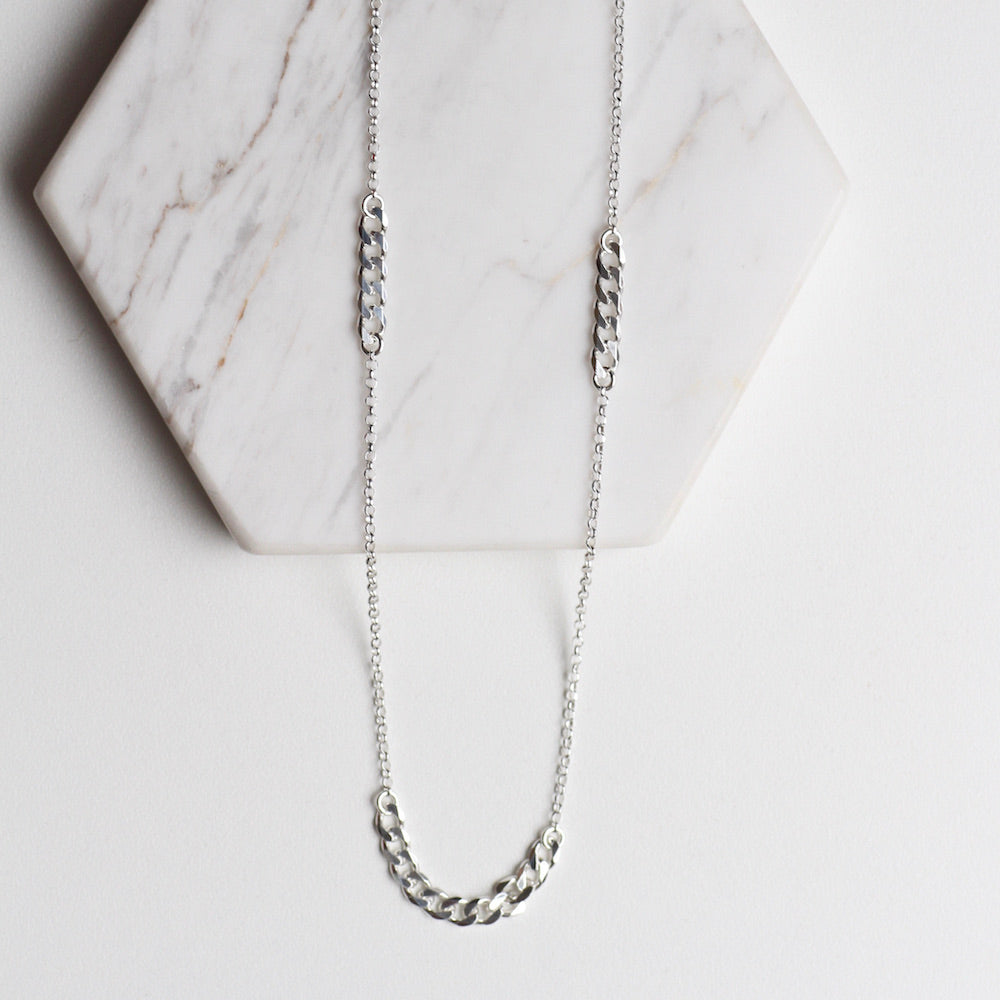Long Curb Chain Station Necklace