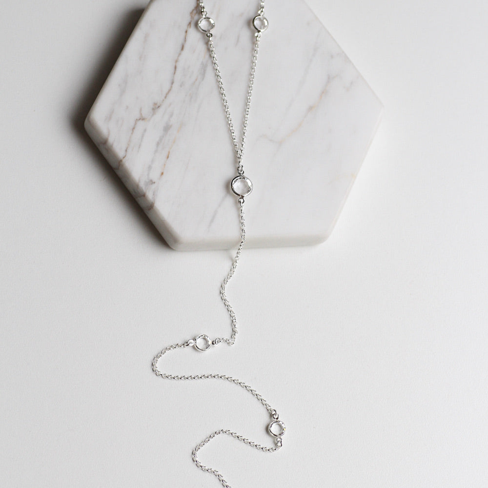 Long Y-Necklace with Crystal Stations