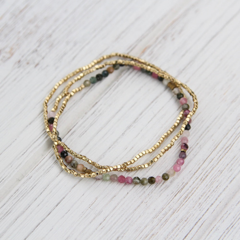 Scout Delicate Tourmaline and Gold Wrap Bracelet and Necklace
