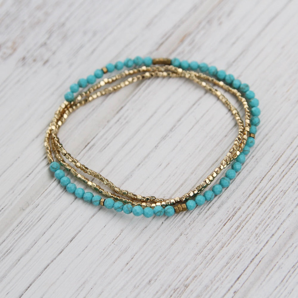 Scout Delicate Turquoise and Gold Wrap Bracelet and Necklace