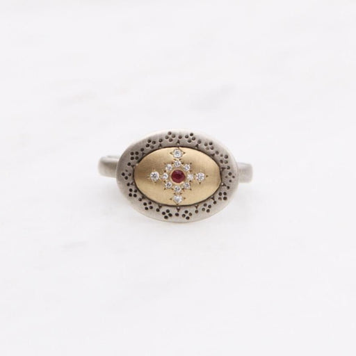 Seeds of Harmony Ring with Ruby and Diamonds