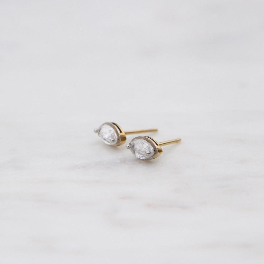 Inverted Drilled Marquise Diamond Studs