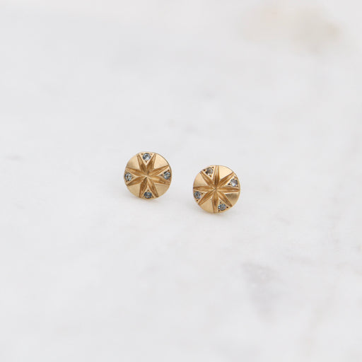 18k Gold Round Stud Earrings with Sapphires