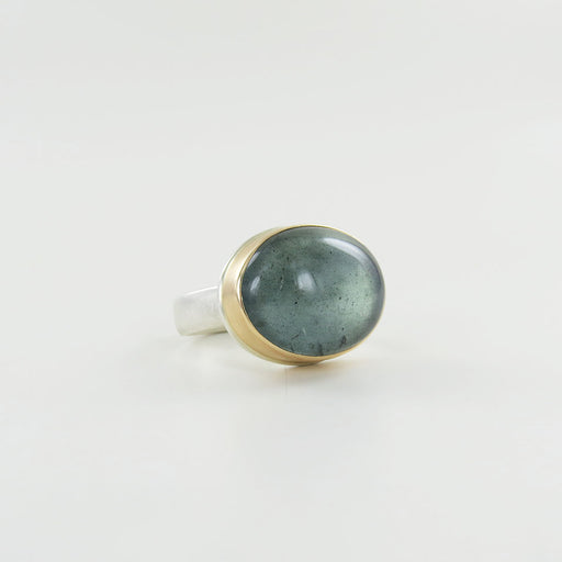 Jamie Joseph Smooth Oval Moss Aquamarine Ring