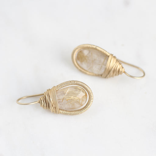 Gold Vermeil Wrapped Teardrop Earrings with Rutilated Quartz