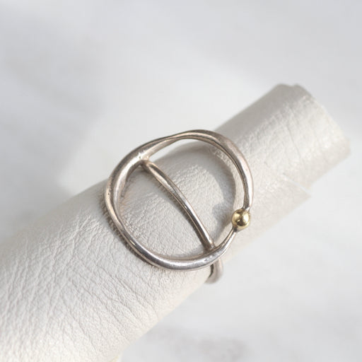 Sterling Silver Open Saddle Ring with 18K Gold Vermeil Dot