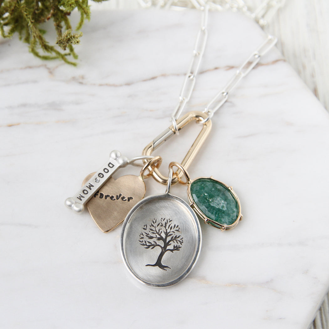 Curved Tree Silver Oval Charm