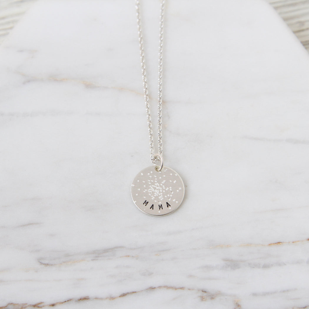 "Diamond Dusted Mini Coin Necklace - ""Mama"""