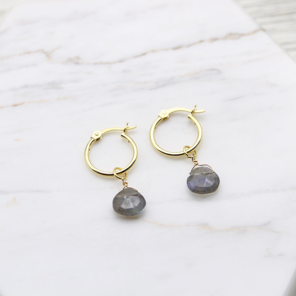 Kaia Hoops ~ Labradorite Drop