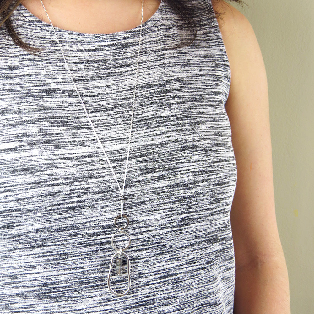 LONG OPEN LOOPS AND LABRADORITE NECKLACE