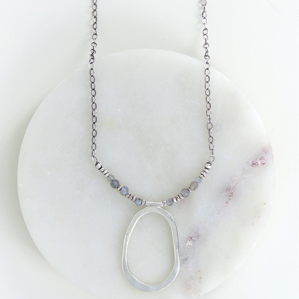 TEARDROP OVAL AND LABRADORITE NECKLACE