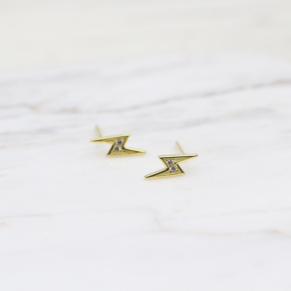 Lightning Studs ~  18k Gold Plated Sterling Silver