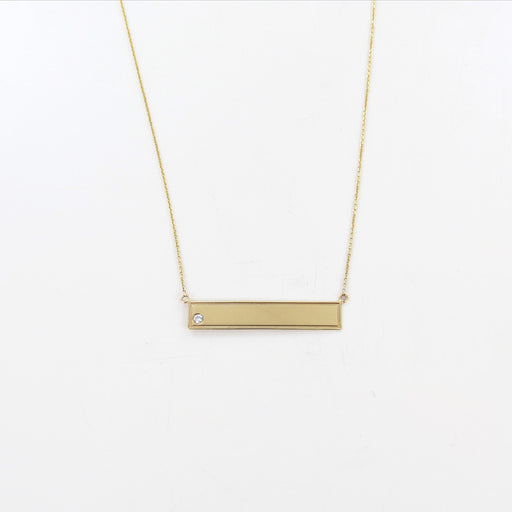 0.03ct DIAMOND GOLD BAR NECKLACE