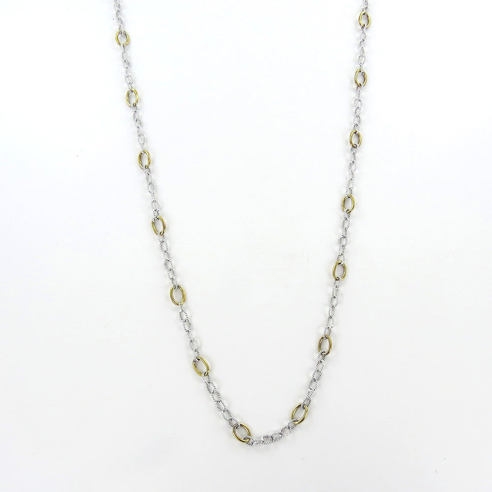 "TWISTED LINK WITH BRASS RINGS 30""  NECKLACE CHAIN"