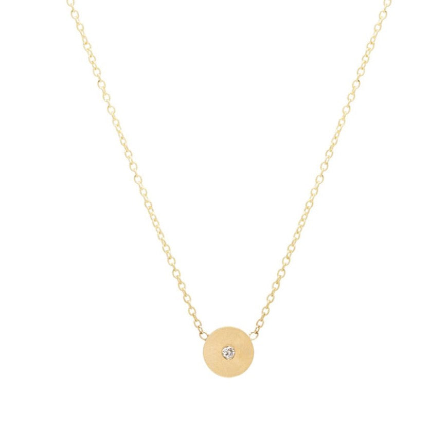 14K GOLD MIDI MEDIUM DISC NECKLACE WITH DIAMOND