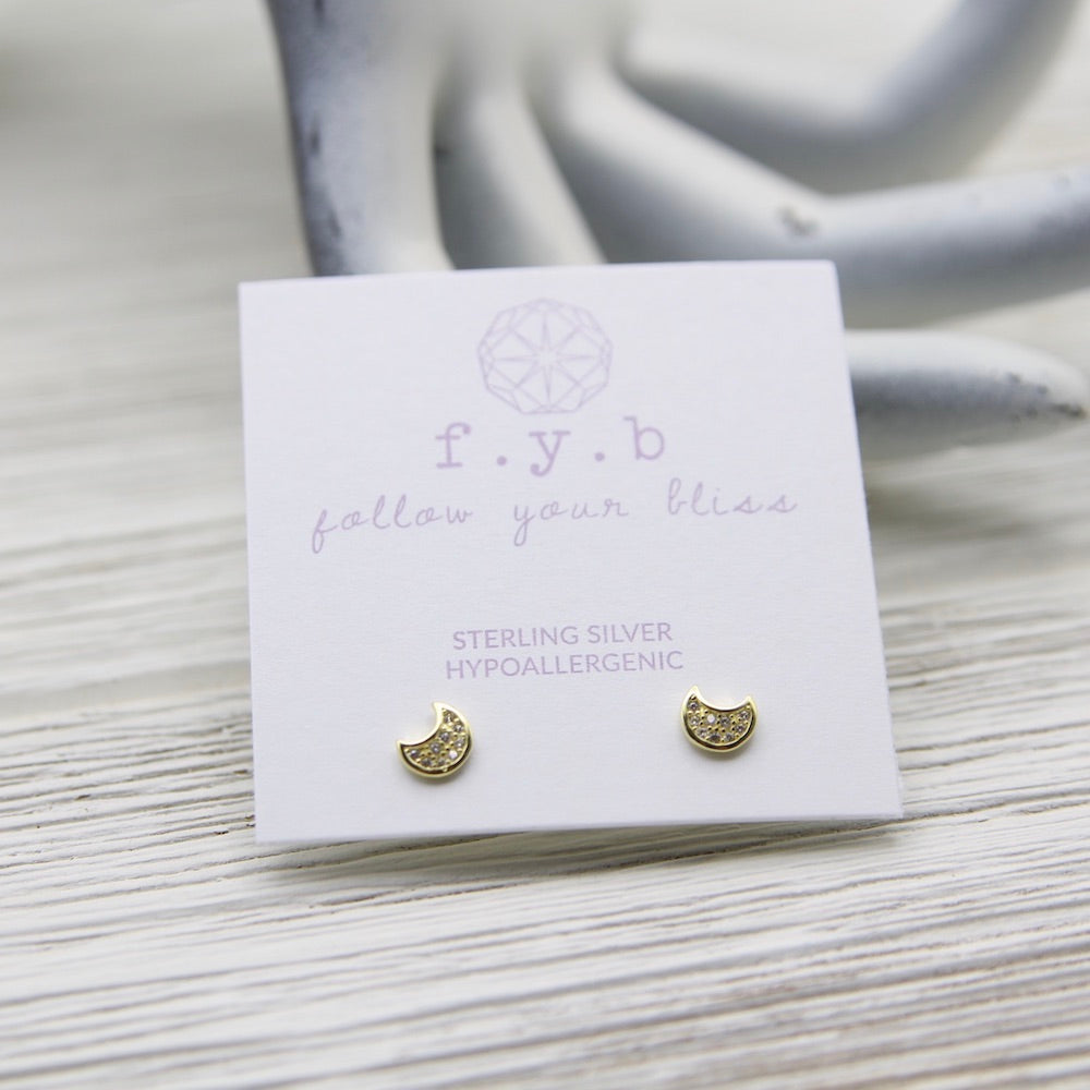 Moon Studs -  14k Gold Plated Sterling Silver