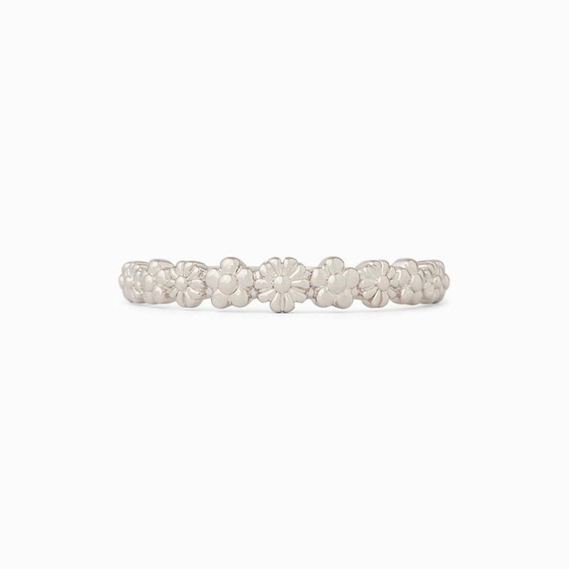 Pura Vida Floral Stacking Ring ~ Silver