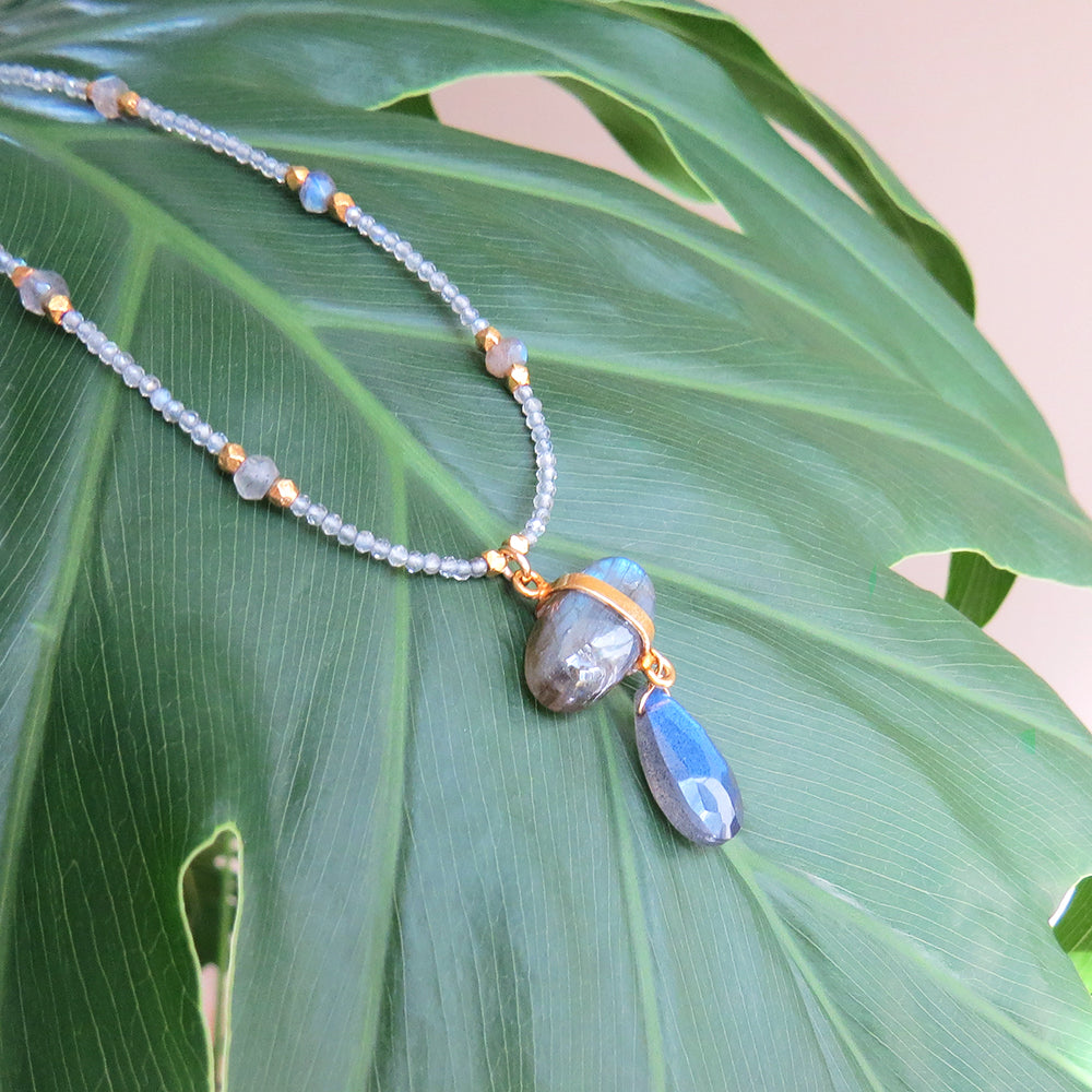 DOUBLE LABRADORITE BEADED NECKLACE