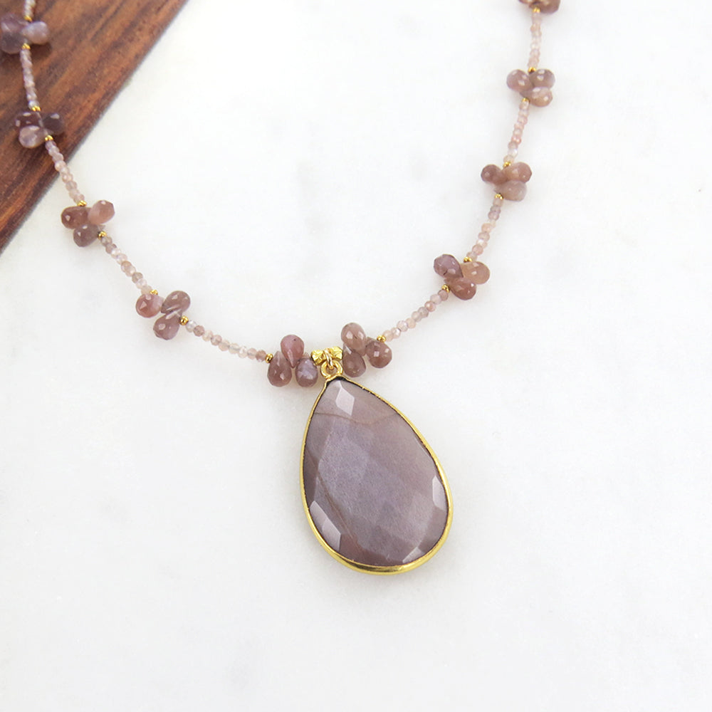 Chocolate Moonstone Teardrop Necklace