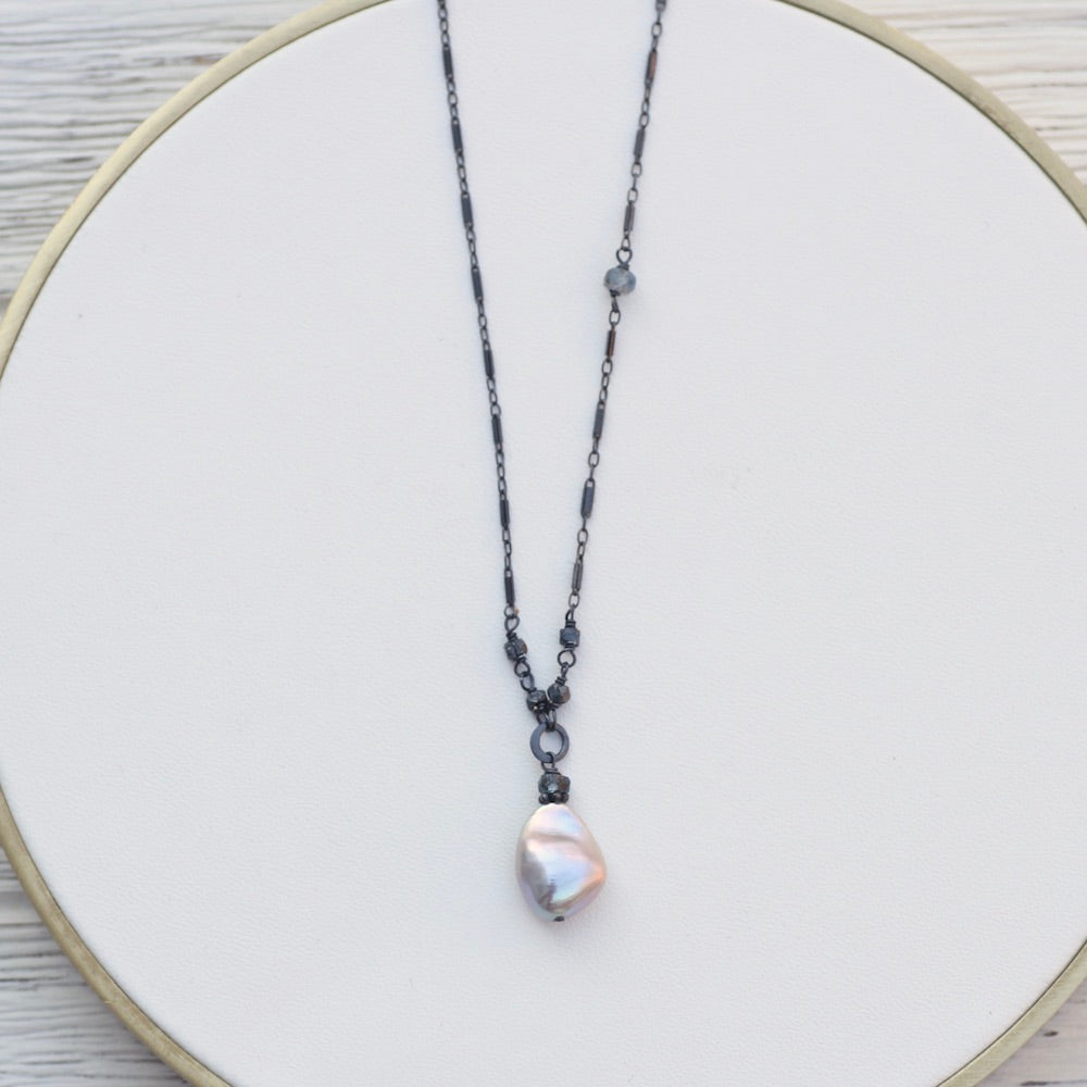 Tiny Grey Pearl Drop Necklace