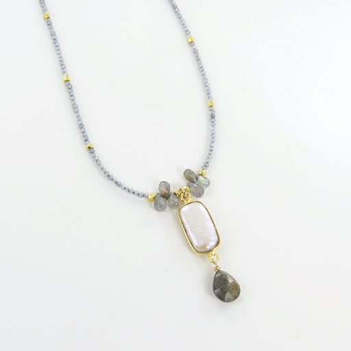 FRESH WATER PEARL AND LABRADORITE NECKLACE
