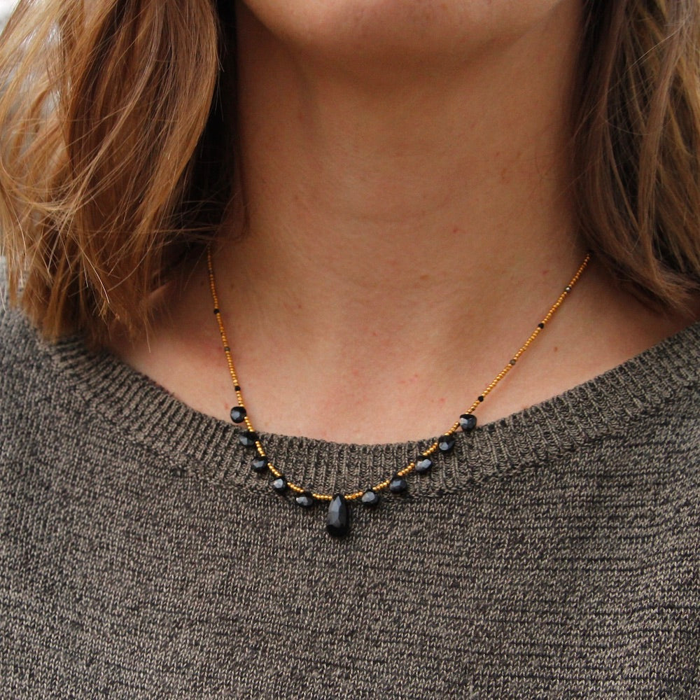 Black Spinel 11 Stone Necklace