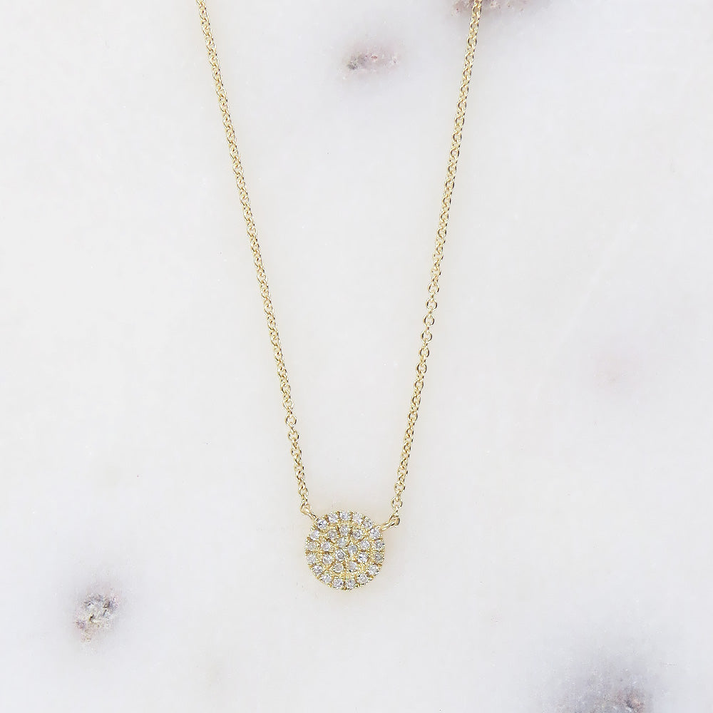 YELLOW GOLD SMALL PAVE CIRCLE NECKLACE