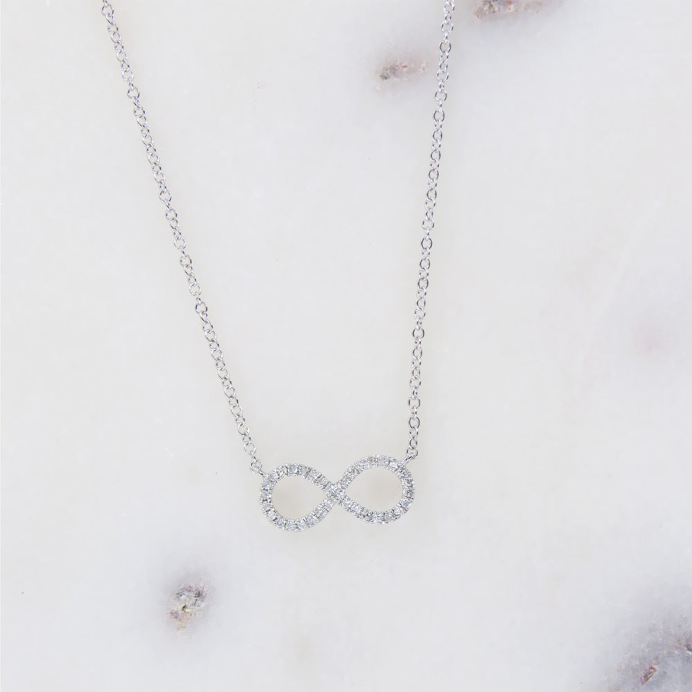 WHITE GOLD MINI INFINITY NECKLACE