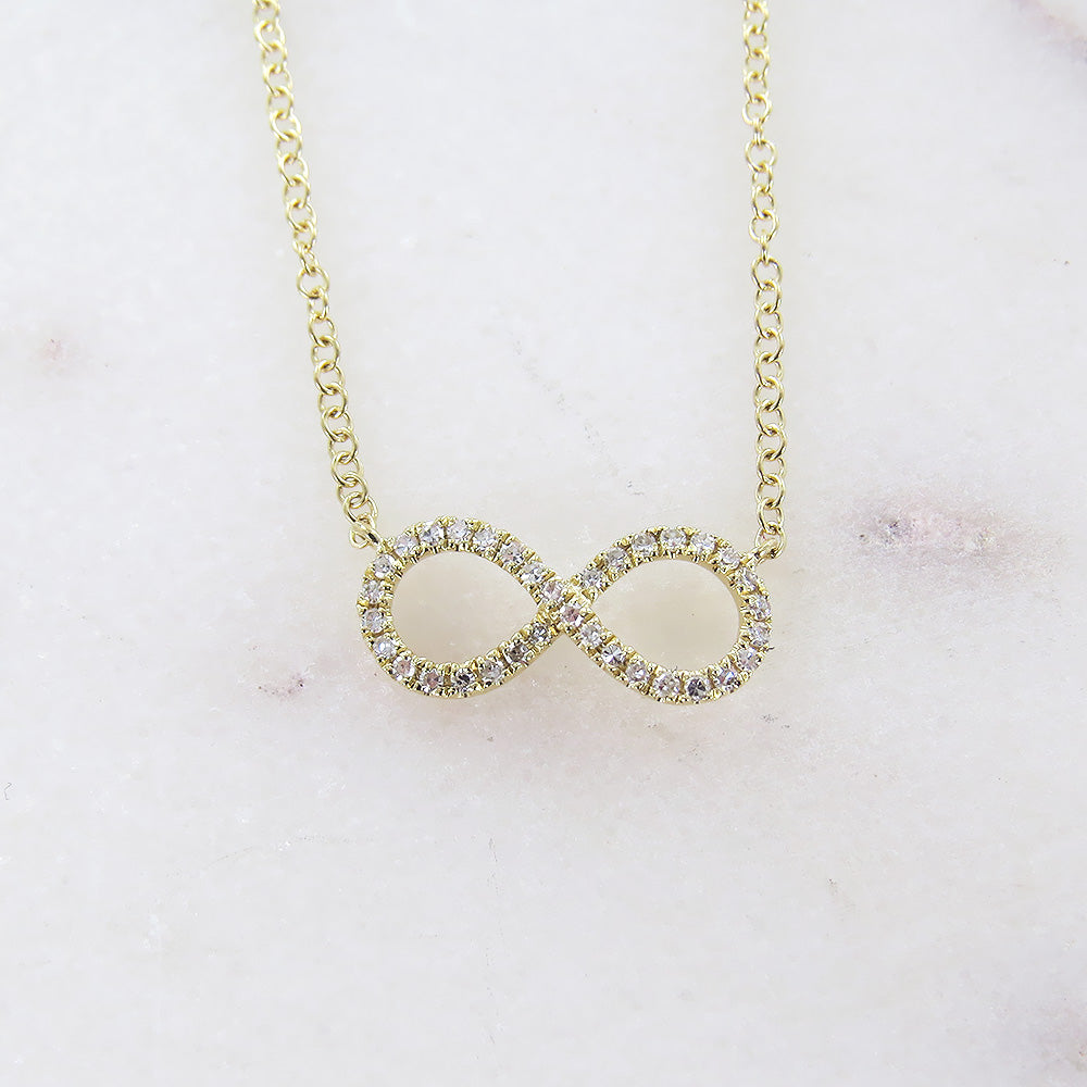 YELLOW GOLD MINI INFINITY NECKLACE