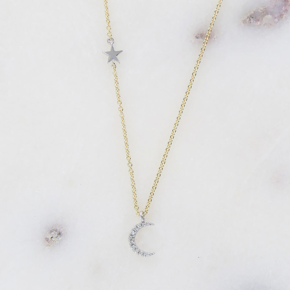 YELLOW GOLD MINI DIAMOND STAR & MOON NECKLACE