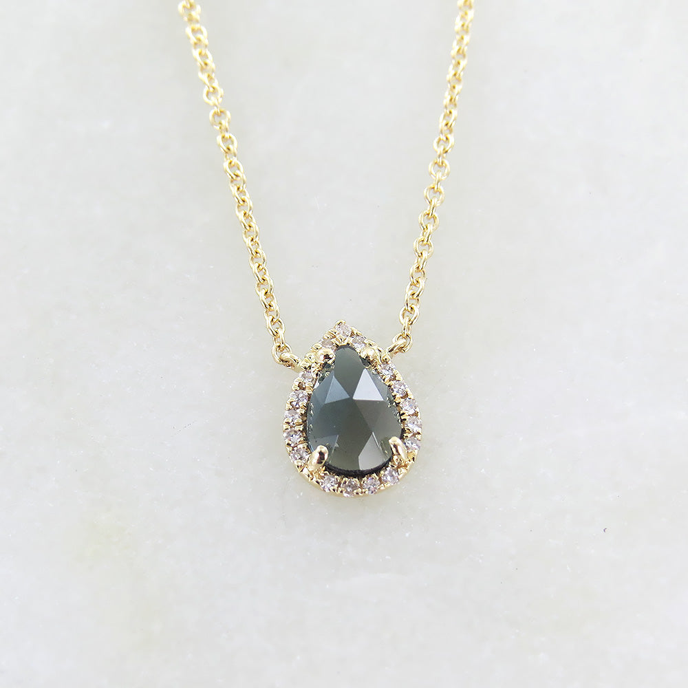 YELLOW GOLD SINGLE PEAR SHAPED LONDON BLUE TOPAZ NECKLACE