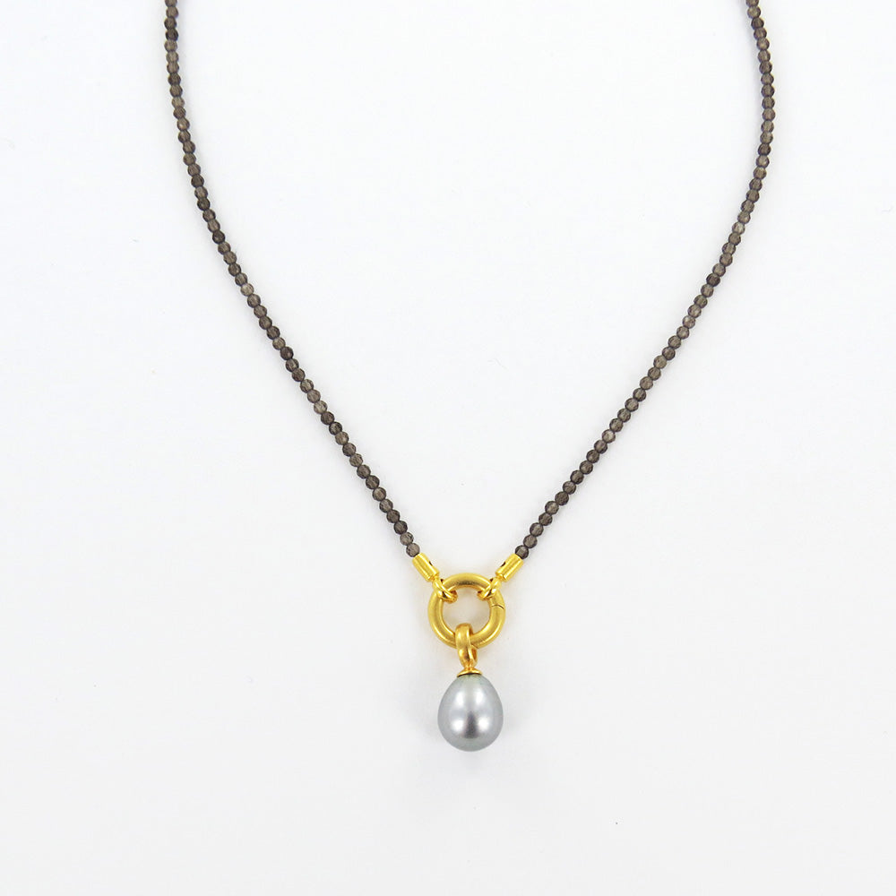 SMOKY QUARTZ GREY PEARL NECKLACE