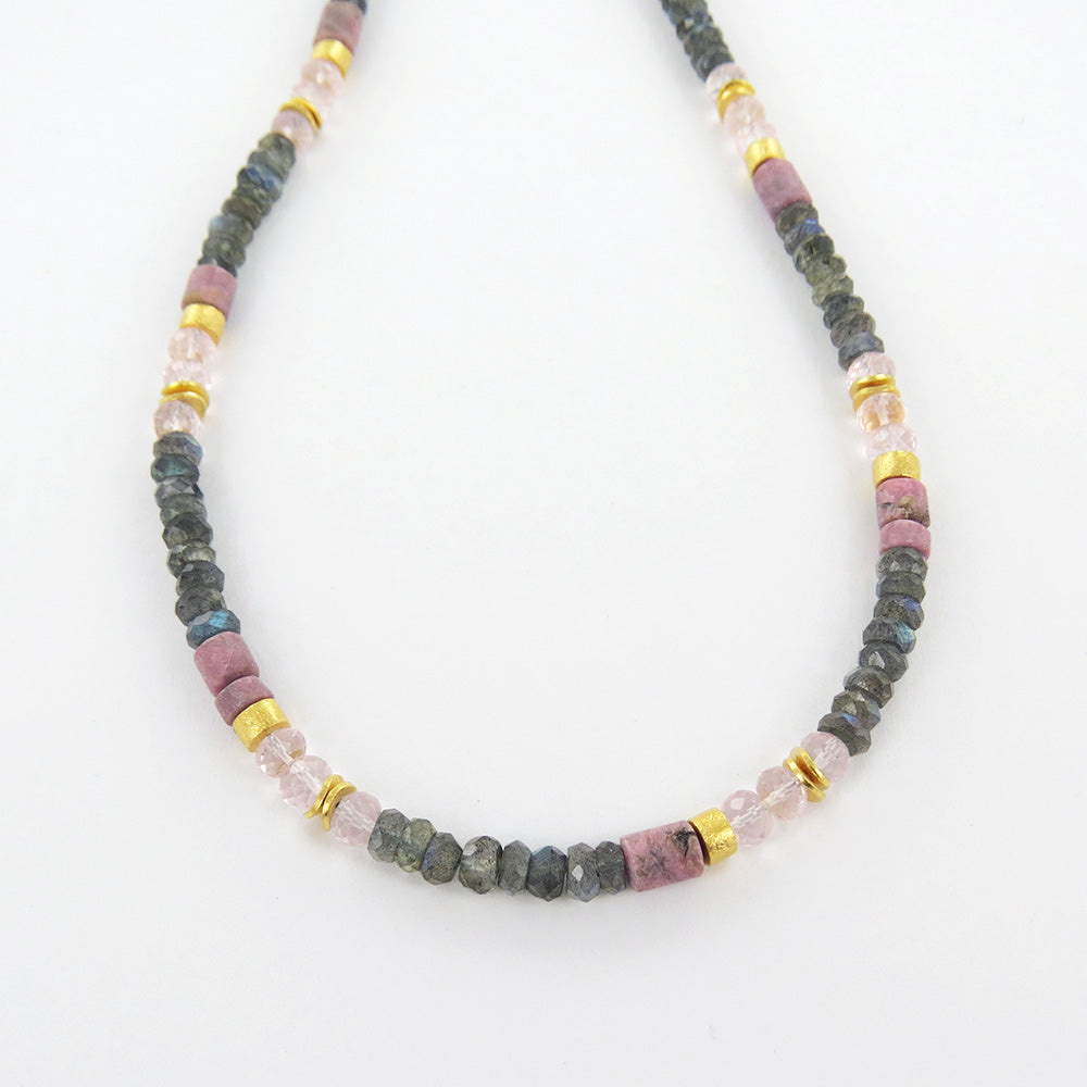 LABRADORITE ROSE QUARTZ AND RHONDITE NECKLACE