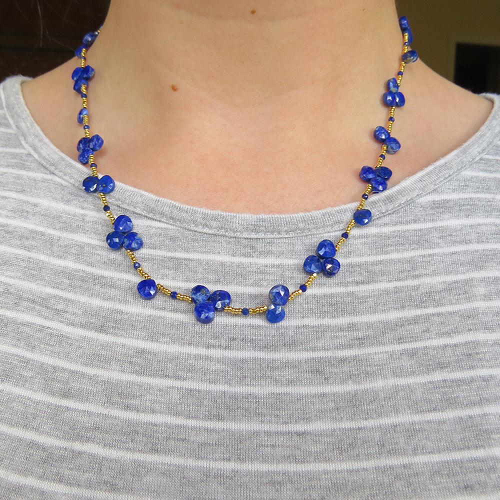 Lapis Heart Shaped Briolettes and Gold Glass Bead Necklace