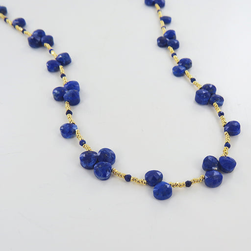 LAPIS HEART SHAPED BRIOS AND GOLD BEADED NECKLACE